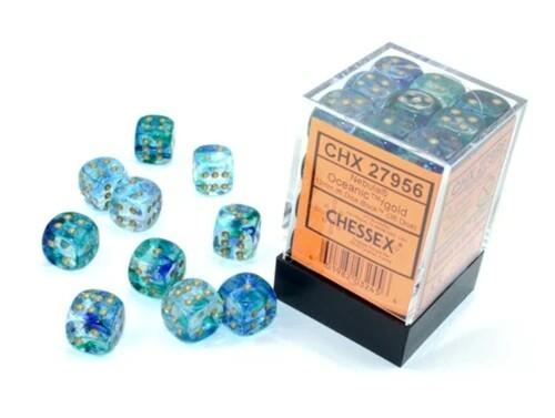 Chessex Nebula Oceanic w/ Gold Dice Block (12mm)