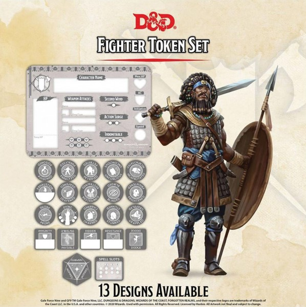 D&D Fighter Token Set (Player Board & 22 Tokens)