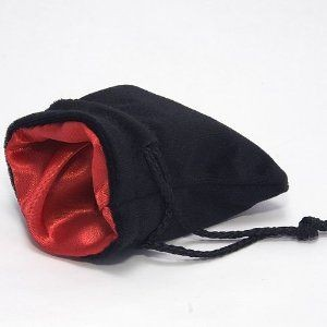 Chessex: Velvet Dice Bag Red ins./Black outs. kl
