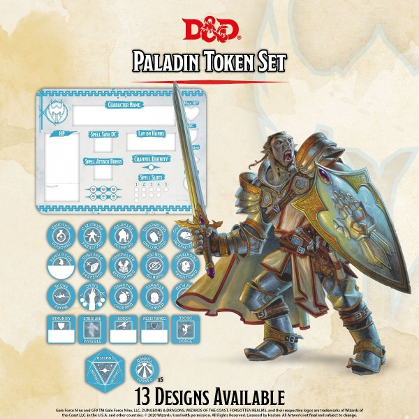 D&D Paladin Token Set (Player Board & 22 Tokens)