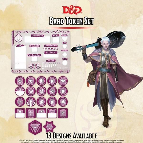 D&D Bard Token Set (Player Board & 22 Tokens)