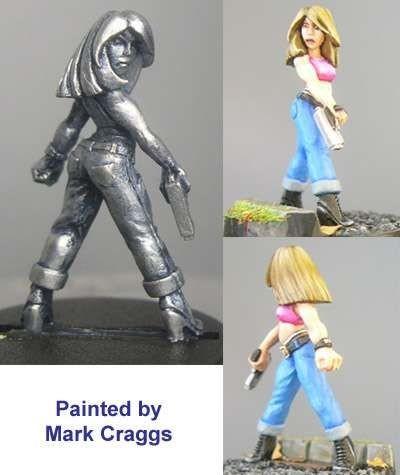 Maria, petite female with pistol