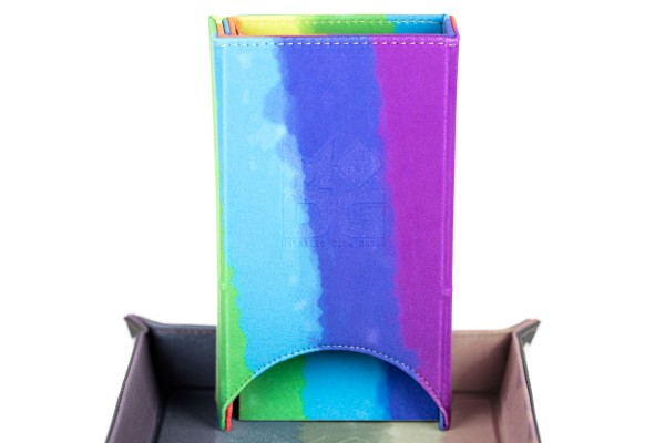 Fold-Up Dice Tower - Watercolour Rainbow