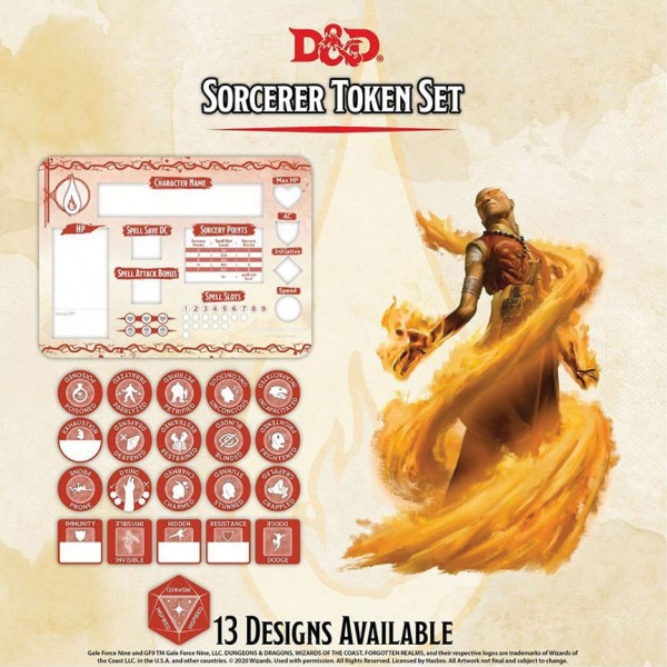 D&D Sorcerer Token Set (Player Board & 22 Tokens)